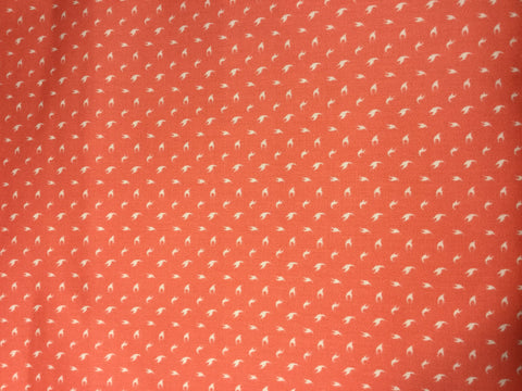 Orange Coral Swallow Birds Dot - Cotton Sateen Shirting Fabric