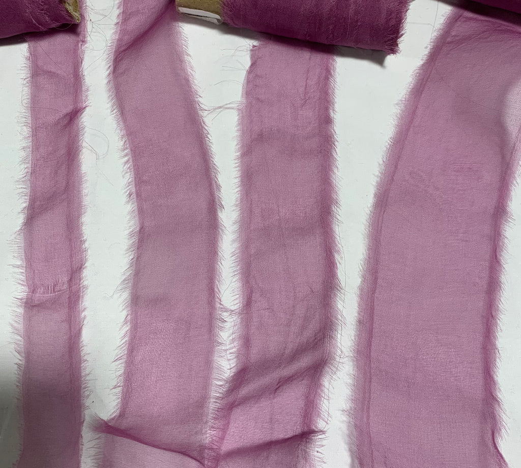 Lilac Hand Dyed 100% Silk Sheer Organza Ribbon ( 4 Widths to choose from)