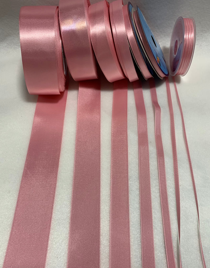 Pink Double Sided Satin Ribbon - Made in France (7 Widths to choose from)