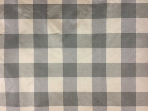 Sage Green & Beige Check - Silk Taffeta Fabric