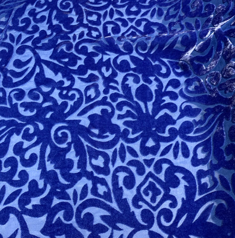 Royal Blue Scroll - Hand Dyed Burnout Silk Velvet