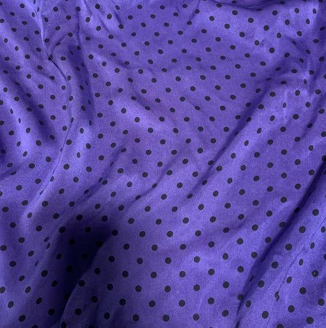 Lavender & Black Polka Dots - Hand Dyed Silk Charmeuse Fabric