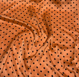 Persimmon Orange & Black Polka Dots - Hand Dyed Silk Charmeuse Fabric