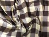 Brown & Ivory Check - Silk Taffeta Fabric