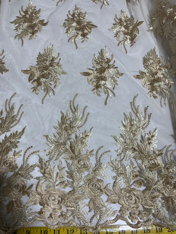 Gold Roses Floral Embroidered Tulle Lace Fabric
