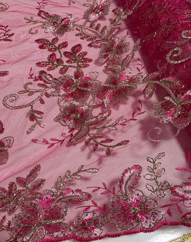 Fuchsia Pink Floral Embroidered Tulle Lace Fabric