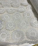 White Sunflowers Floral Embroidered Organza Fabric