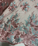 Dusty Rose Pink & Sage Green Roses Floral Embroidered Tulle Lace Fabric