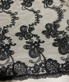 Black Floral Flourish Embroidered Tulle Lace Fabric