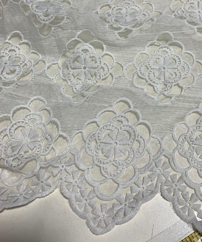 White Doily Lace Embroidered Organza Fabric
