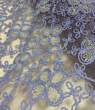 Purple Floral Lace Embroidered Organza Fabric
