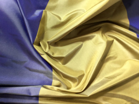 Violet & Gold Wide Stripe - Silk Taffeta Fabric