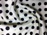 Black on White Octagons - Faux Silk Charmeuse Satin Fabric