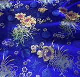 Blue Floral Medallions - Faux Silk Brocade Fabric