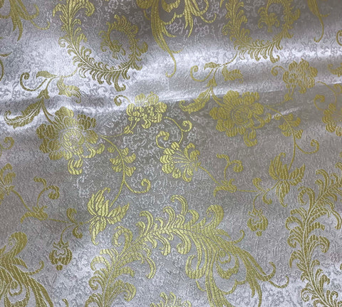 Gold & White Feather Floral - Faux Silk Brocade Fabric