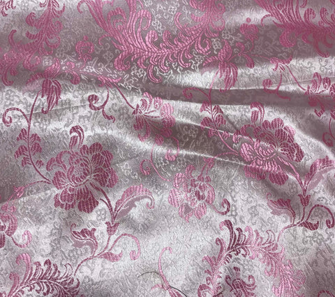 Pink & White Feather Floral - Faux Silk Brocade Fabric