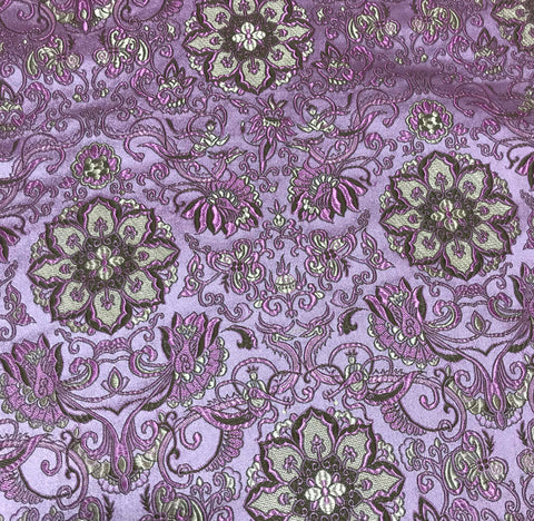 Pink with Mermaids & Medallions - Silk Brocade Fabric