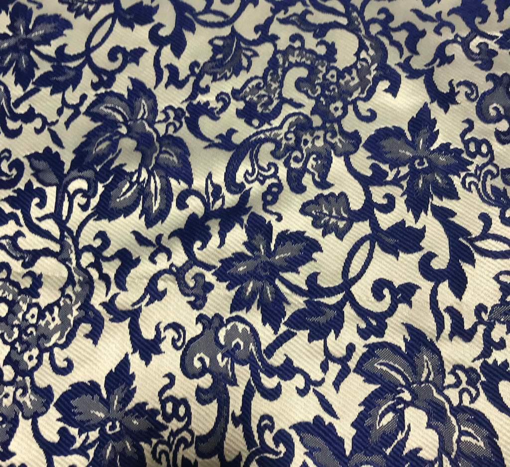 Blue & White Floral - Silk Brocade Fabric