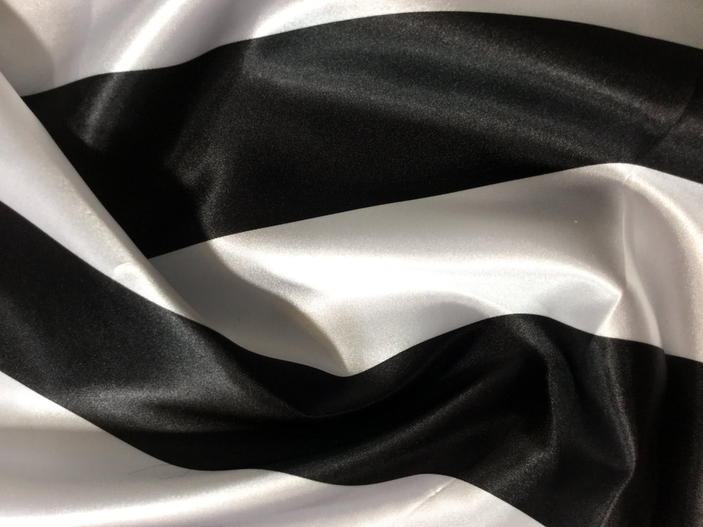 Black & White Wide Stripe - Faux Silk Charmeuse Satin Fabric