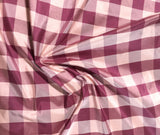 Burgundy & Rose Check - Silk Taffeta Fabric