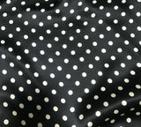 "Black and White 3/8"" Polka Dots - Silk Charmeuse Fabric"