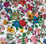 Flower Garden on White - Silk Charmeuse