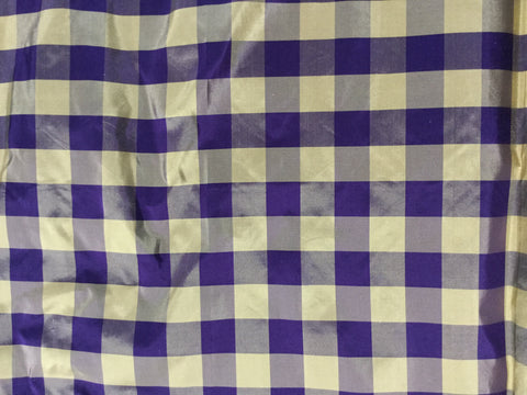 Violet & Gold Check - Silk Taffeta Fabric