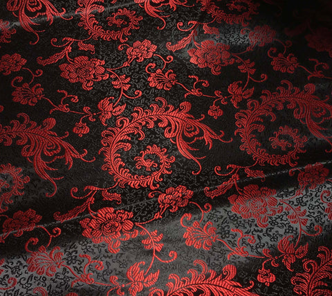 Red & Black Feather Floral - Faux Silk Brocade Fabric