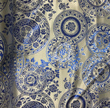 Blue & White Floral Medallions - Silk Brocade Fabric