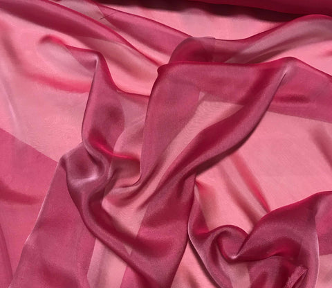 Hot Pink - Iridescent Silk Chiffon