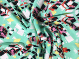 Mint Geometric - Crepe Fabric