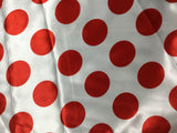 Red & White Polka Dots - Faux Silk Charmeuse Satin Fabric