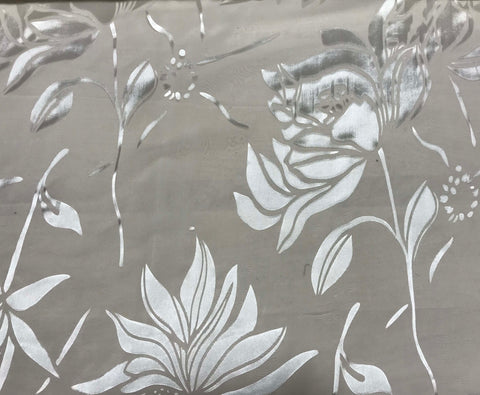 Burnout Devore Satin Fabric - White Large Magnolias Floral