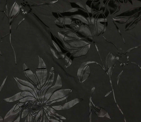 Burnout Devore Satin Fabric - Black Large Magnolias Floral
