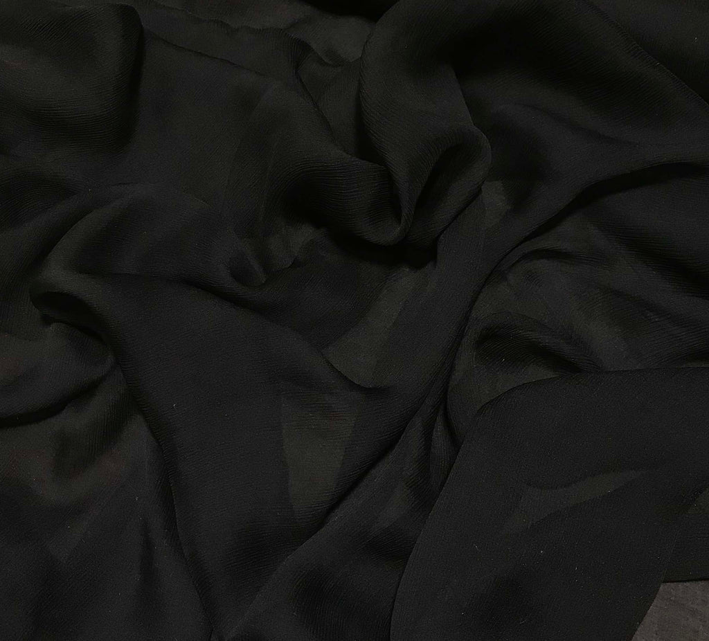 Black - Crinkle Silk Chiffon Fabric