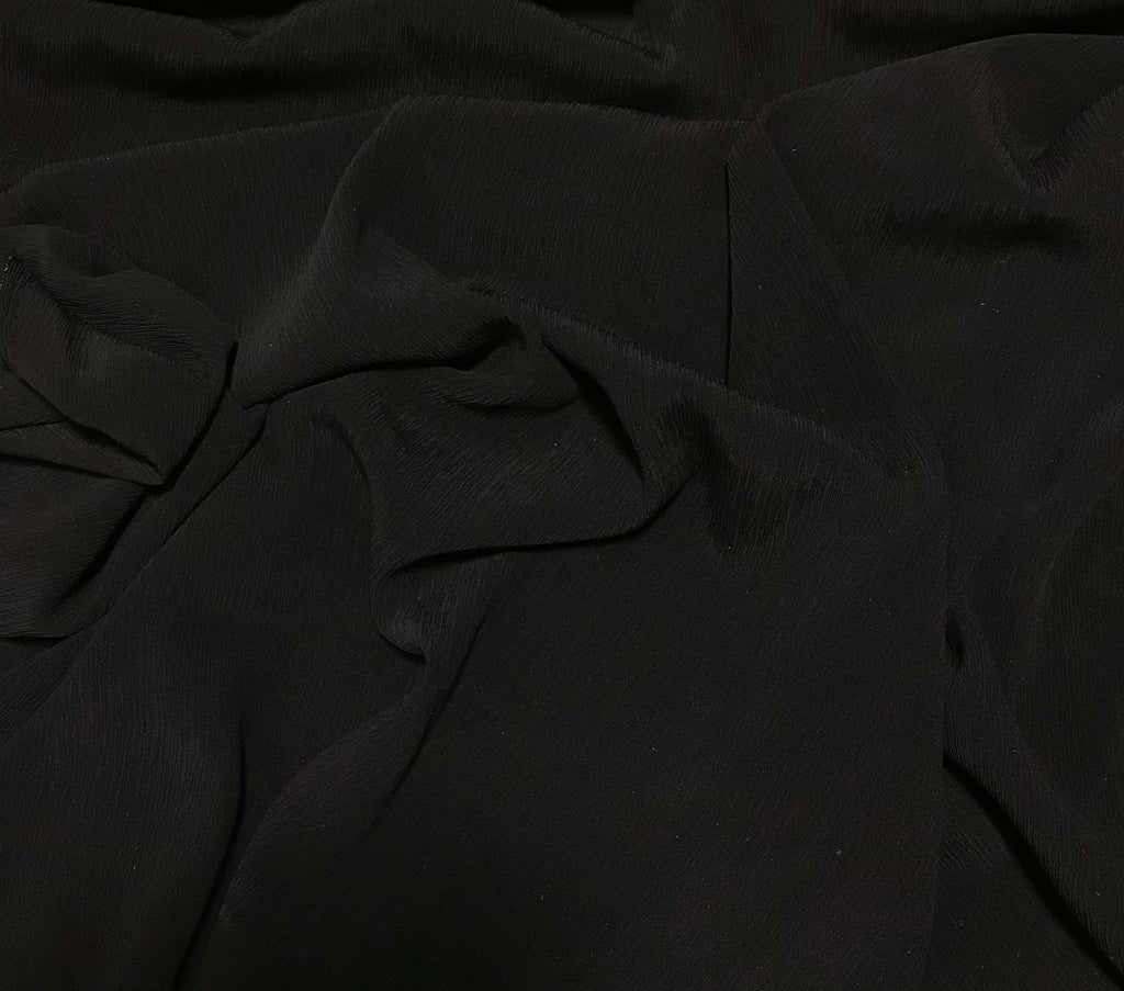 Black - Crinkle Silk Crepe Fabric