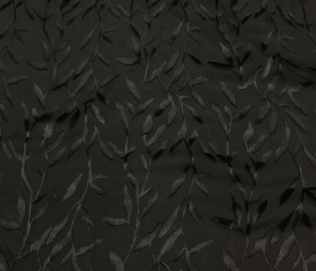 Burnout Devore Satin Fabric - Black Thin Leaves