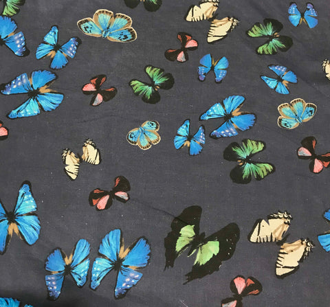 Blue with Butterflies - Silk Chiffon Fabric