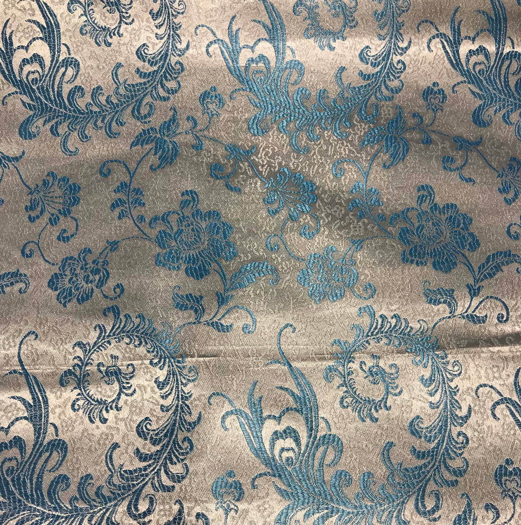Blue & White Feather Floral - Faux Silk Brocade Fabric