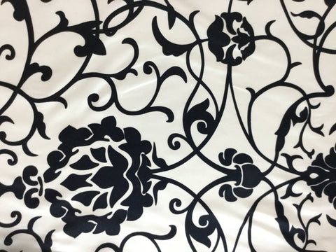 Black and White Damask - Silk Charmeuse