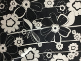 Black and White Flowers - Silk Charmeuse
