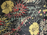 Black with Yellow and Red Flowers - Silk Charmeuse