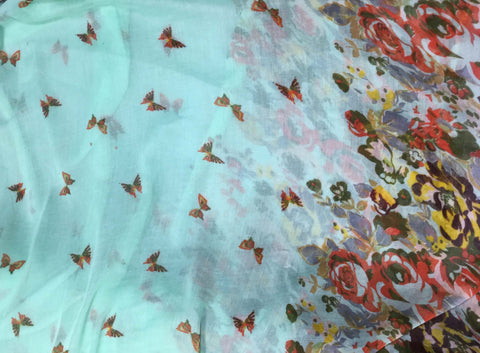 Mint Butterfly Floral - Polyester Gauze Voile Fabric