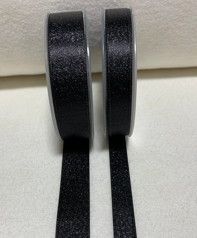 Black with Metallic Silver Double Sided Satin Ribbon Trim Made in France (2 Widths to choose from)