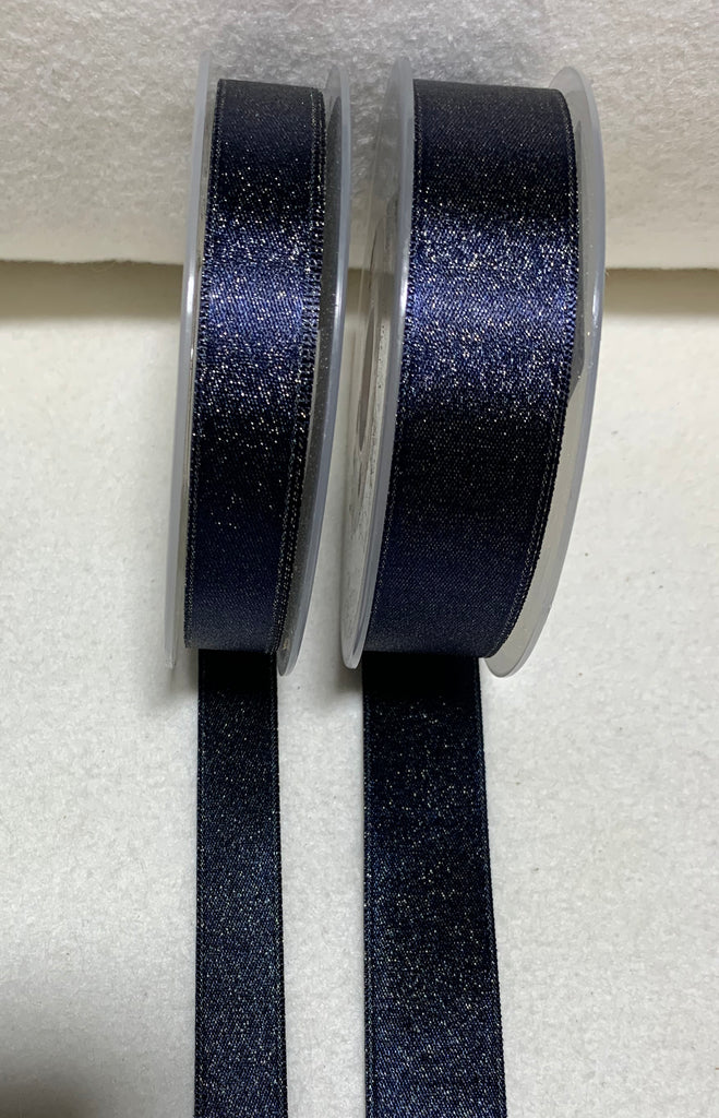 Navy Blue with Metallic Gold Double Sided Satin Ribbon Trim Made in France (2 Widths to choose from)