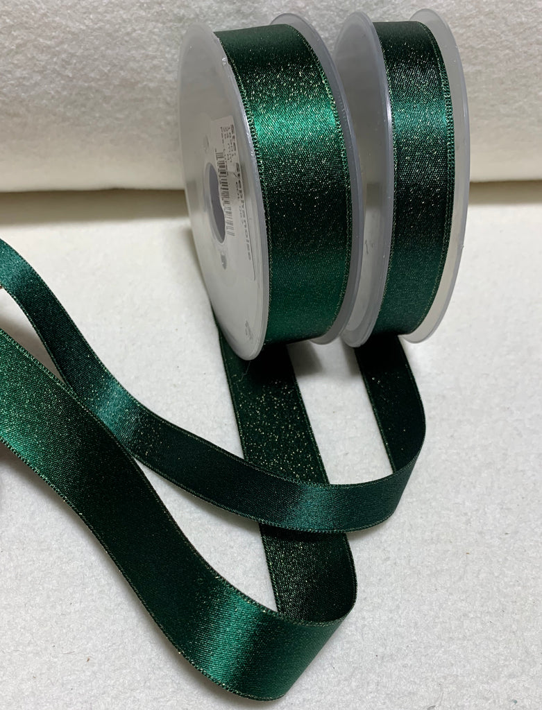 Forest Green with Metallic Gold Double Sided Satin Ribbon Trim Made in France (2 Widths to choose from)