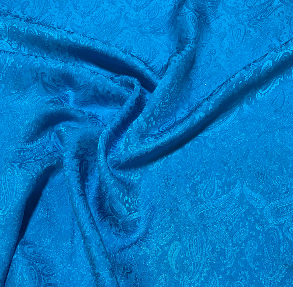 Dark Turquoise Paisley - Hand Dyed Silk Jacquard