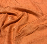 Persimmon Orange Paisley - Hand Dyed Silk Jacquard