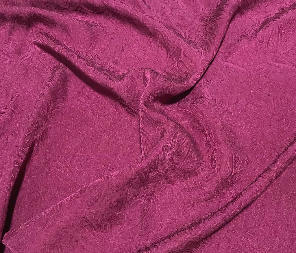 Maroon Paisley - Hand Dyed Silk Jacquard