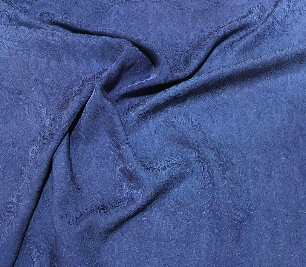 Dark Denim Blue Paisley - Hand Dyed Silk Jacquard